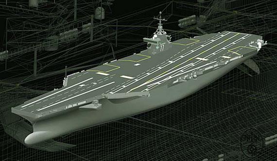 """资料图:美国海军第二艘最新型""""福特""""级航空母舰CVN-79号效果图"""