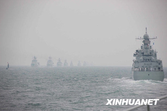 4 23 afternoon, marine parade held in the Yellow Sea near Qingdao. Xinhua News Agency reporter Li Gangshe