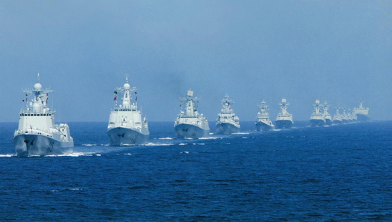 China's navy large parade, the Navy ships in review