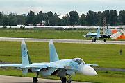 空军出动苏-27歼八进行预演