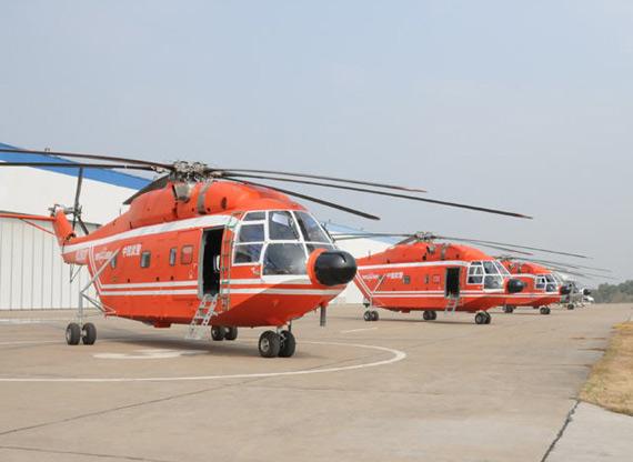 国产新出厂的直八机群等待试飞来源:新华网