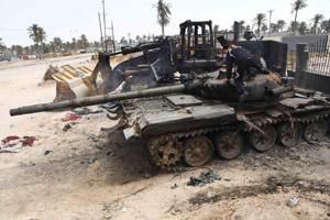 被击毁的利比亚军队坦克