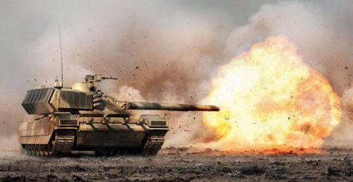 """俄军""""阿玛塔""""坦克开火想象图"""