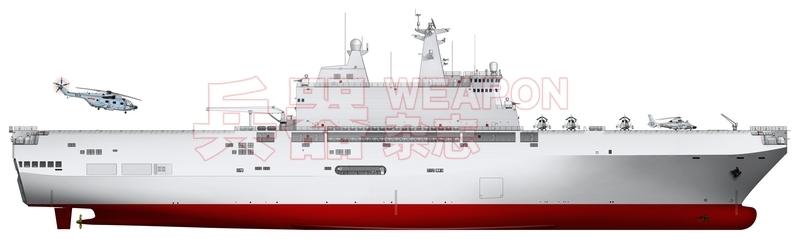 """""""2万吨多用途运输舰""""右视图。"""