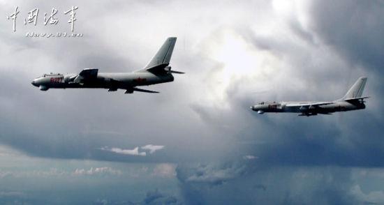 轰6机群演练远海突袭