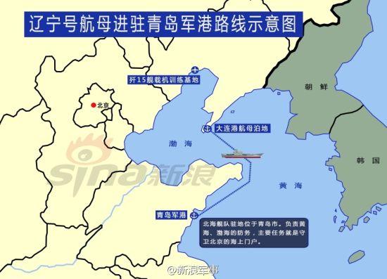 中国航母基地及舰载机基地示意图(新浪军事制图)
