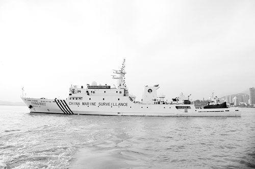"""资料图:新入列的""""中国海监8002""""船"""