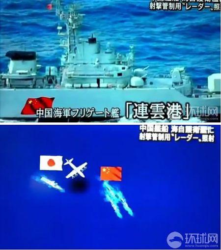 有关中日军舰对峙雷达照射的示意图