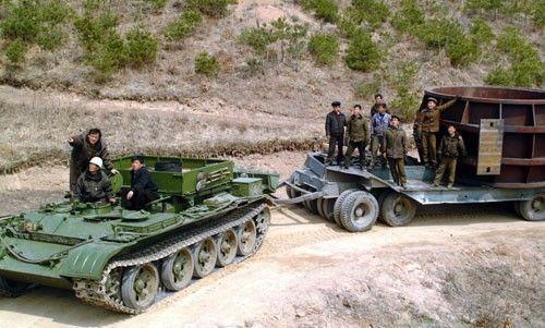 朝鲜坦克被改造成牵引车