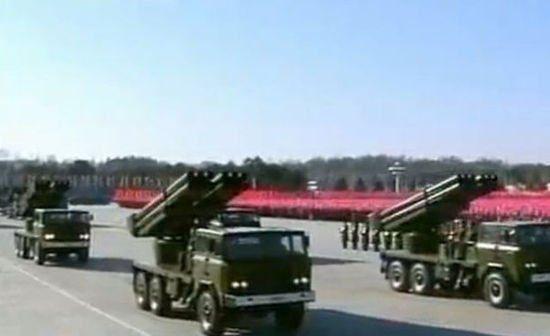 资料图:朝鲜曾展示过的12管240毫米大口径火箭炮
