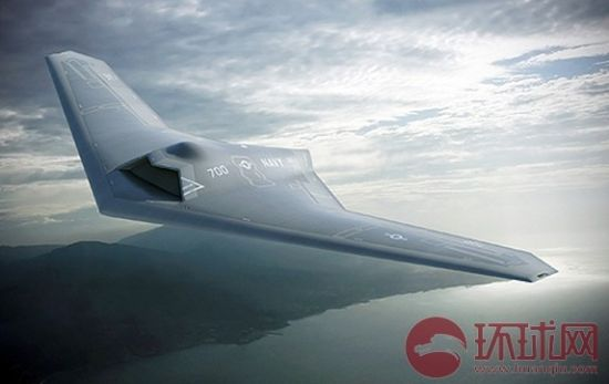 """洛马公司提供的""""舰载空中监视与打击无人机"""" (UCLASS)项目概念图。"""