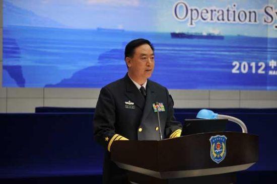 资料图:海军丁一平副司令员正在进行讲话
