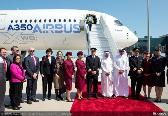 卡塔尔航空公司首席执行官Akbar Al Baker,空中客车公司A350XWB项目负责人Didier Evrard,以及卡塔尔航空公司员工代表在多哈欢迎A350XWB宽体飞机的到来。