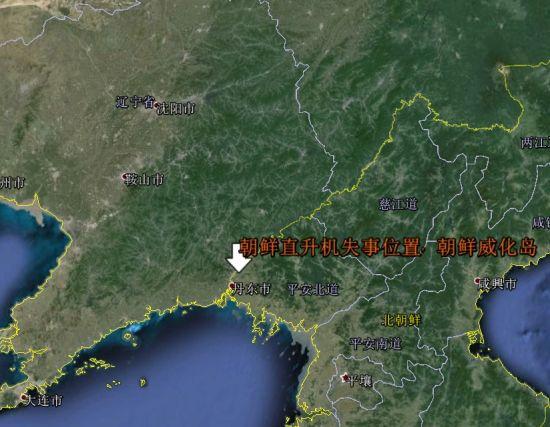 朝鲜直升机坠毁位置示意图