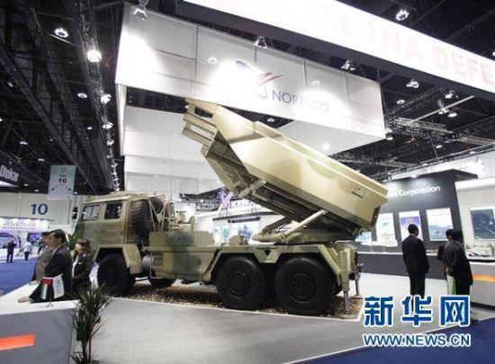 资料图:中国在国外防展上展出的模块化火箭炮车,可兼容多种口径火箭弹