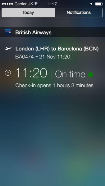 英国航空的这款应用程序支持苹果公司最新推出的iOS 8系统。即便不打开应用程序,旅客也能在苹果手机通知中心里看到他们的航班状态。