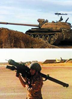 """▲ 叙利亚战场上的T-55坦克(上)和""""伊斯兰国""""(IS)武装人员正在使用的便携式防空导弹。朝鲜一直将旧式武器改良后出口到叙利亚等中东纷争地区,据推测,图中武器就是其中的一部分。"""