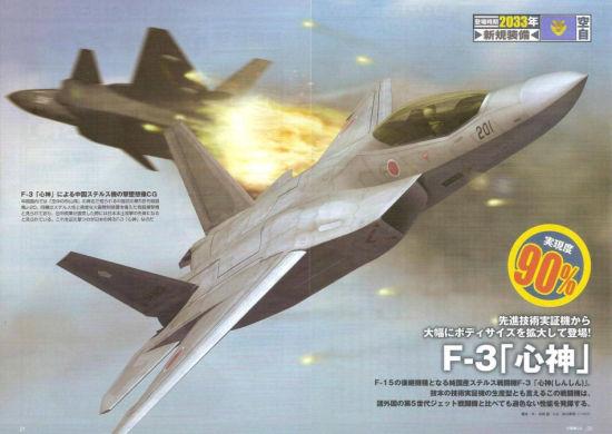 资料图:日本F-3心神战机击落中国歼20假想图