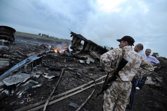 资料图:马航MH17客机被击落坠毁现场