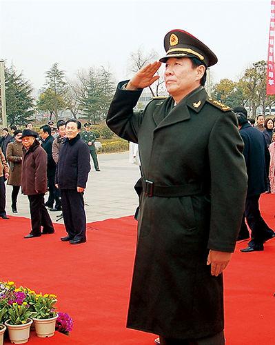 2011 年 1 月 20 日,刘源上将在江苏召开的新四军军部重建 70 周年纪念会上。