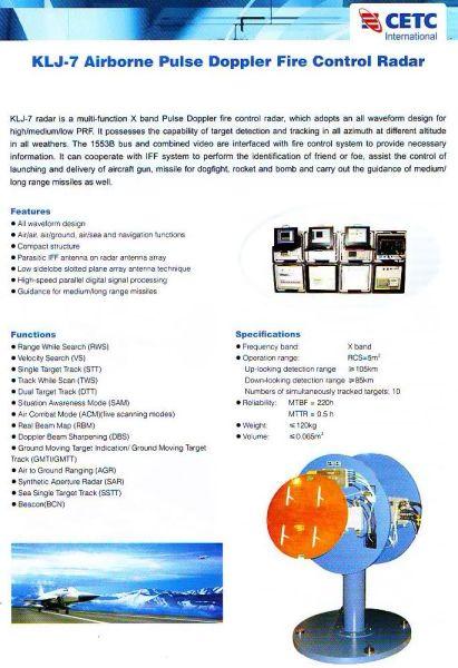 资料图:电子进出口公司公布的KLJ-7指标