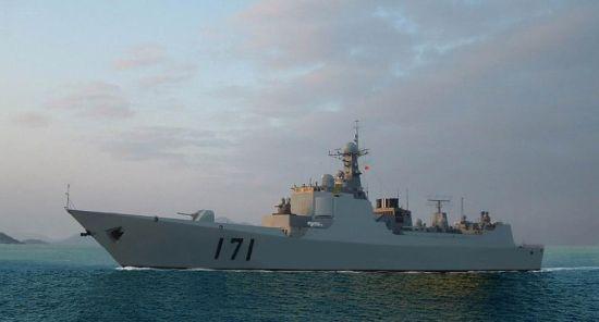 """资料图:中国海军第一代具备相控阵雷达的052C驱逐舰""""海口""""号"""