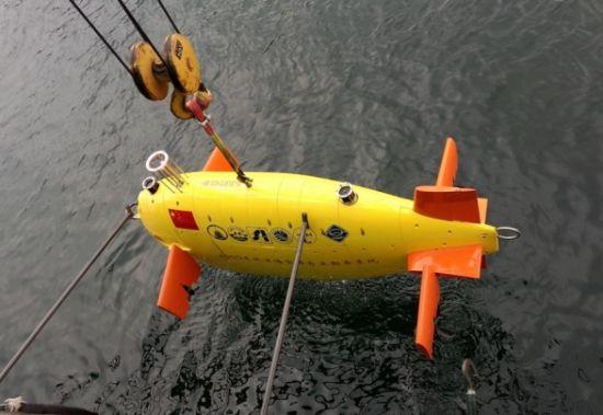 中国4500米深水AUV(资料图,摄于稍早前在千岛湖进行试验时)