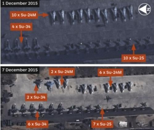 卫星相片显现,俄罗斯在赫梅明基地安排的苏-34战争轰炸机数目添加到8架