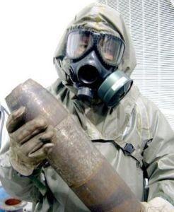 资料图:装有沙林毒气的炮弹