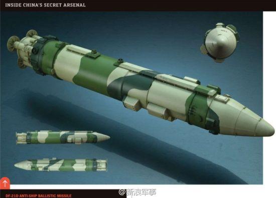 电脑CG图上的做出的东风-21D反舰弹道导弹的弹体。