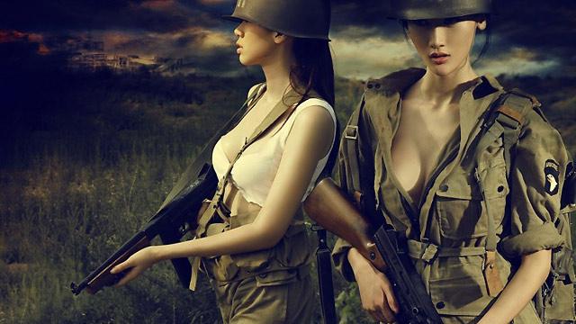 成群美女扮美军模拟二战