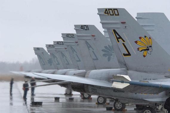 图文:参加红旗空演的F-18C大黄蜂舰载战机群