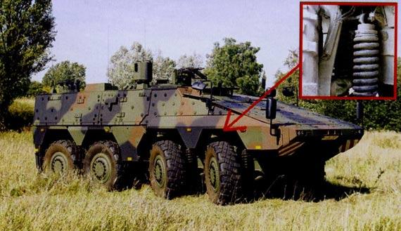 德国拳击手装甲和VN1轮式步兵战车的悬挂均为麦弗逊式悬挂。不过前者的减震弹性元件为独树一帜的双螺旋弹簧组。