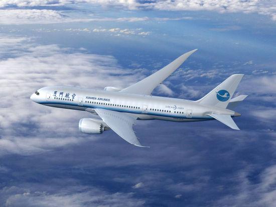 料图:厦门航空波音787客机-厦门航空订购6架波音787飞机将开通欧
