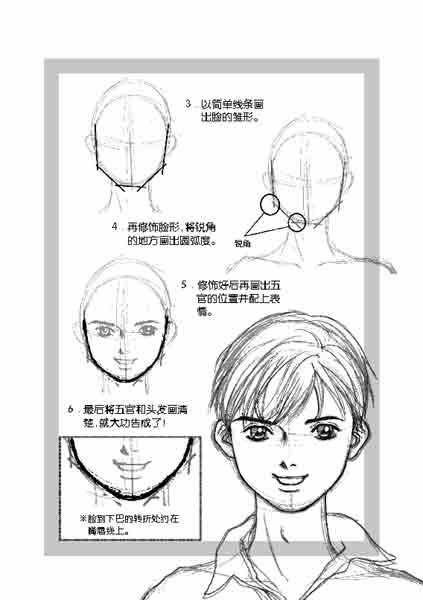 脸形篇2-5:男生圆形脸的画法