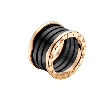 宝格丽B.zero 1系列2010年新款玫瑰金黑陶瓷戒指 (AN855563)