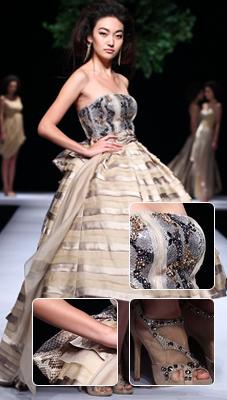 鲜明的层次+金属配饰丝绸裙蕾丝花 张一华简约大气女人装
