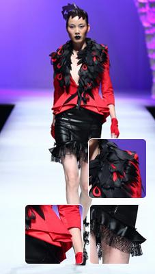 褶皱边红西服+黑色羽毛装饰羽毛点缀 妖媚哥祁刚爱错很纠结