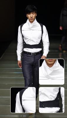 """""""背背佳""""结构装饰+白色翻边高领固有结构进行新的组合产生新的视觉感官"""