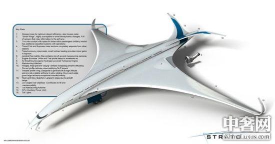 William Brown在设计Stratoliner客机时以一种名为斑尾鹬的鸟类为参考灵感,这种鸟类可在9天内不吃不喝不休息的连飞1万1425公里去过冬。因此,Stratoliner的机身、机翼与机尾翼的设计,都与目前的客机截然不同。William Brown表示,Stratoliner客机尖细流线的机身可降低飞行时的空气阻力,而巨大的鸟形翅膀机翼有助于在空气稀薄的高海拔区域产生飞行所需的巨大升力。而透过巨大的扬升力滑行将可使Stratoliner的引擎处于闲置状态,逹到减少能源消耗的目的,使Str