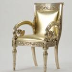 范思哲金色亮皮靠椅