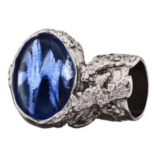 复古闪电蓝戒指