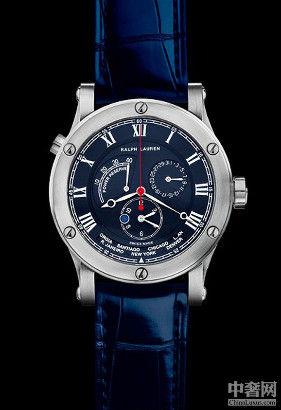 拉夫劳伦世界时间腕表包含一项复杂功能,只需旋动表冠,便可显示24座城市对应的全球各时区时间