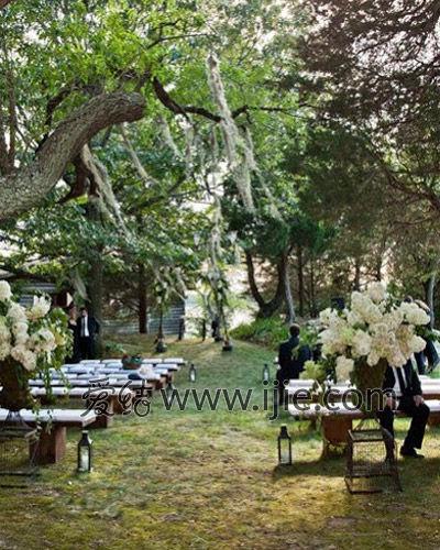 森系田园婚礼风情,浪漫浓缩在花串与花海之间