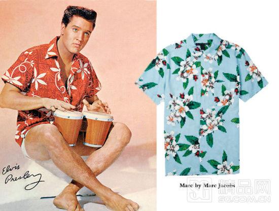 """经典专辑《蓝色夏威夷》中,""""猫王""""埃尔维斯-普雷斯利也穿上了夏威夷衫"""