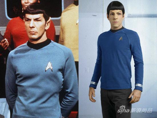 Leonard Nimoy版Spock(左)及Zachary Quinto版Spock(右)