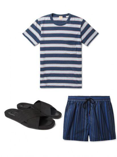 复古条纹T恤,深蓝色竖条纹短裤,黑色帆布拖鞋