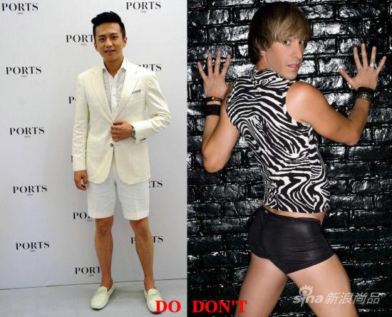 左:邓超着白色宝姿西服加短裤;右:萨莎-拜伦-科恩饰演的布鲁诺