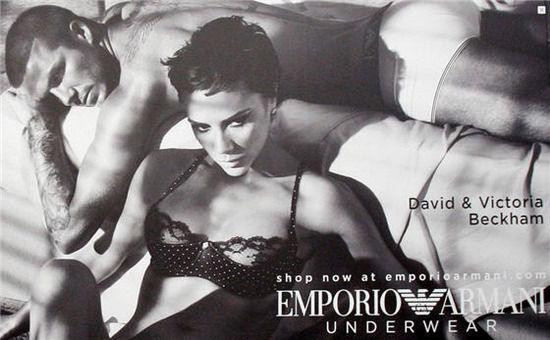 贝克汉姆夫妇为阿玛尼内衣拍摄的黑白巨型广告