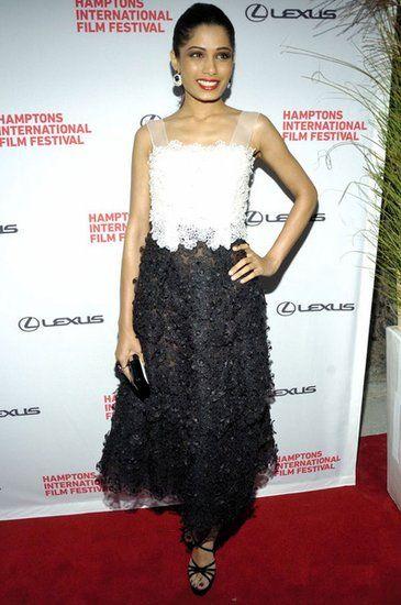 Freida Pinto的蕾絲傘裙
